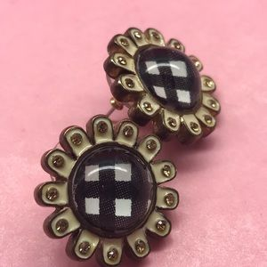 Vintage Betsey Johnson daisy gingham earrings post